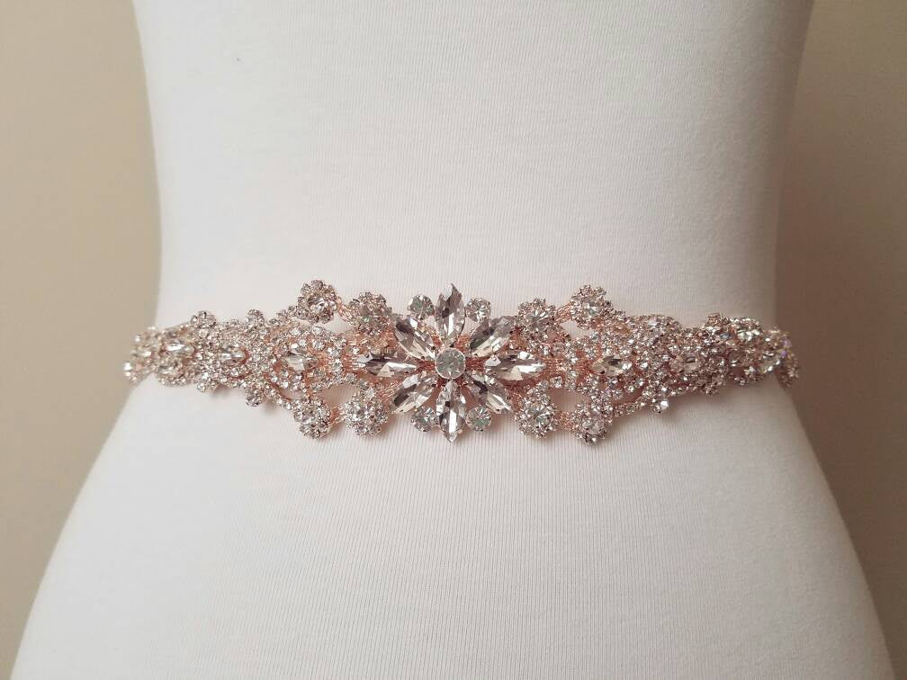 Couture Rose Gold Bridal Sash and Headband for a Bridal Wedding Gown