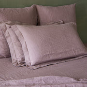 Set of 2 Flanged Linen Pillowcases Lilac - Linenshed