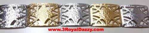 14k Y & W Gold Layer on 925 Silver Bracelet- 3RoyalDazzy.com Handmade Exclusive5 - 3 Royal Dazzy