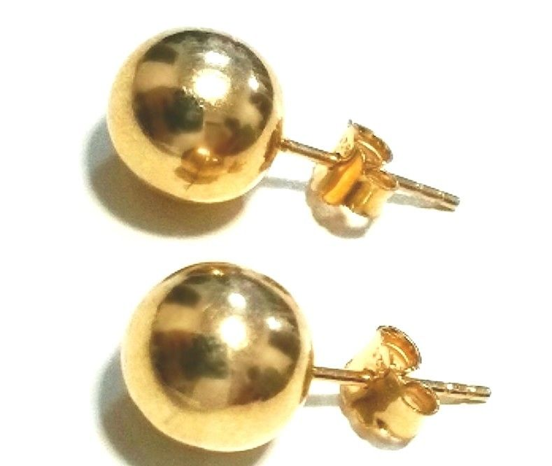 14k Yellow gold layer on 925 Sterling Silver Full Round Ball Stud Earring 6 mm - 3 Royal Dazzy