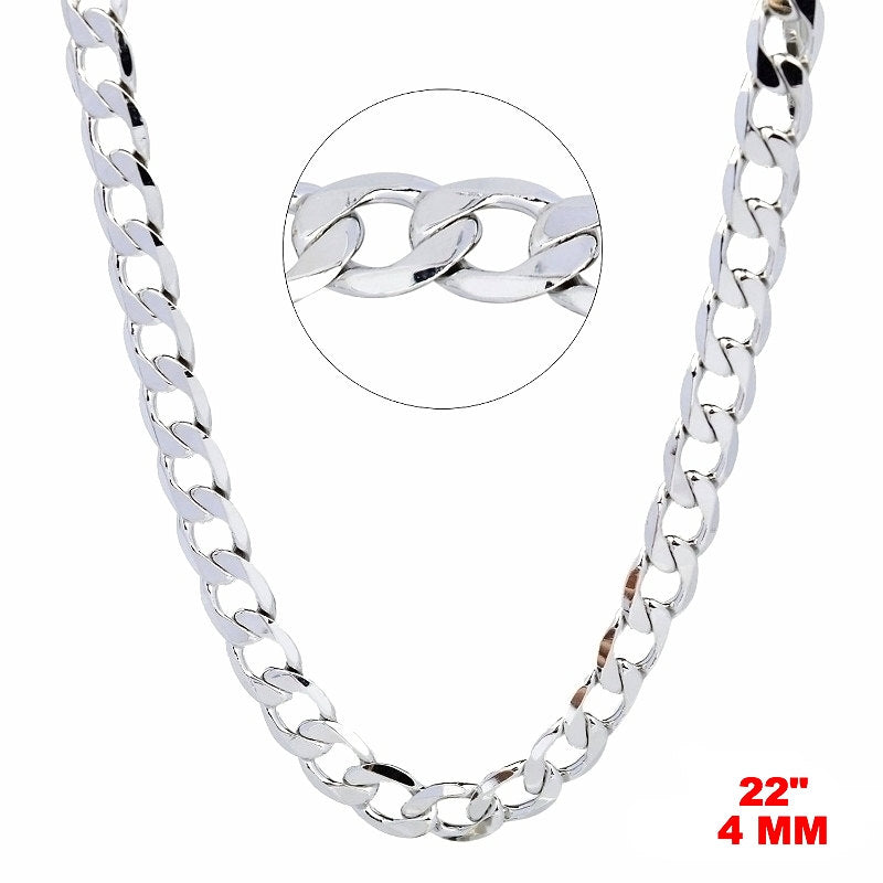 "14k White gold Layer on Solid 925 Sterling Silver Curb Chain- 4 mm - 22 "" - 3 Royal Dazzy"