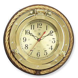 "Brass Porthole Clock with Rope - 13""."