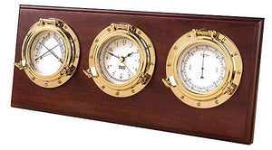 Weems & Plath Nautical Brass Porthole Weather Center