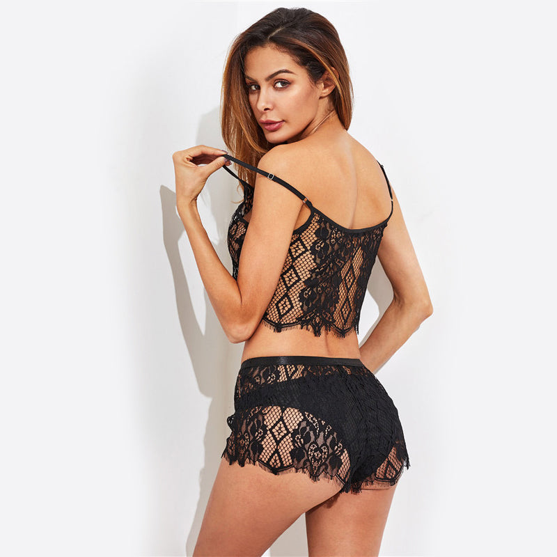 Black Sexy Lace Sleepwear with Spaghetti Strap for Women