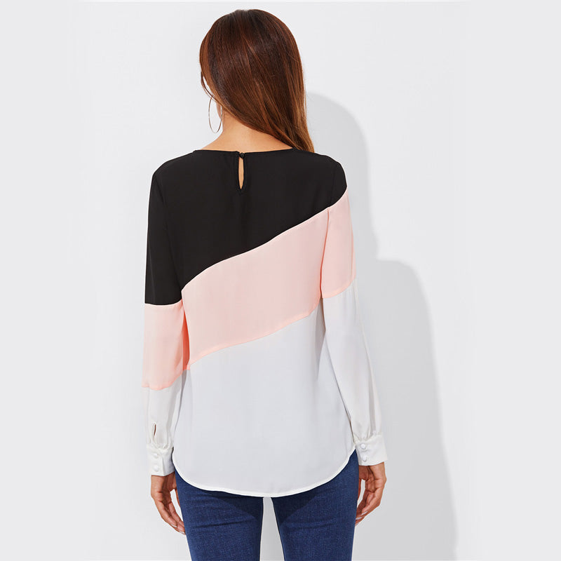 Women's Patchwork Blouse with Buttoned Keyhole Back and Round Neck & Long Sleeves Casual Blouse
