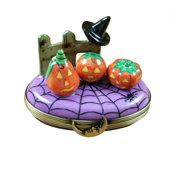 3 PUMPKIN SCENE WITH WITCH HAT LIMOGES BOXES - Limoges Boxes Boutique