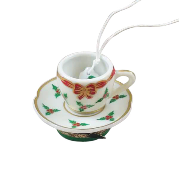 Christmas Tea Cup Limoges Boxes - Limoges Boxes Boutique