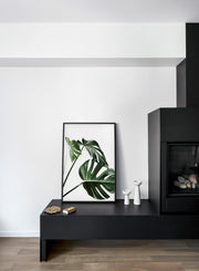 Scandinavian art print by Opposite Wall with Monstera leaf photo Three's a charm - Fireplace