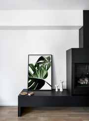 Scandinavian poster by Opposite Wall with trendy with Monstera leaf Overlap - Fireplace
