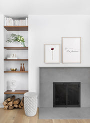 Weathered rose - botanical flower modern minimalist photography poster by Opposite Wall - Living room with fireplace