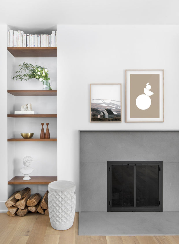 minimalist art print by Opposite Wall with trendy design of Equilibrium in sepia - Living room with a fireplace