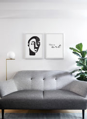 Scandinavian poster by Opposite Wall with abstract line art illustration - Duo - Living room