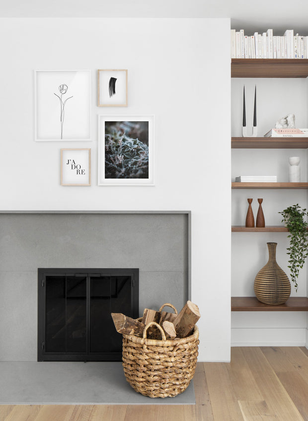 Winter flowers modern minimalist photography poster by Opposite Wall - Living room with fireplace