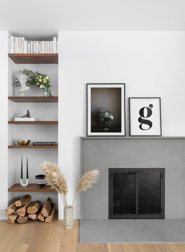 Elegant Bouquet modern minimalist photography poster by Opposite Wall - Living room with fireplace - Duo