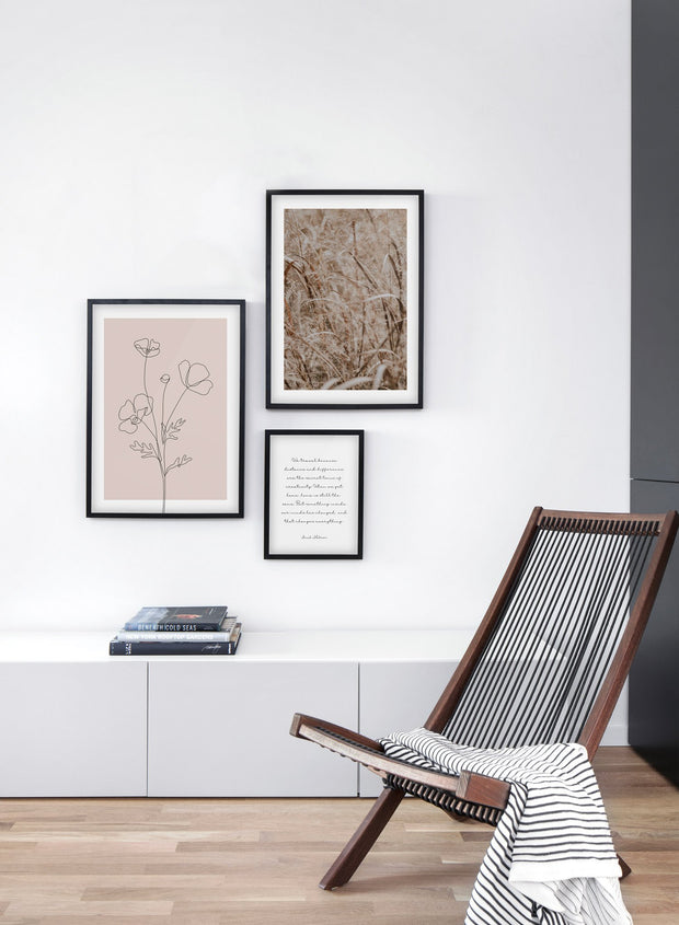 Prairie Grasses modern minimalist photography poster by Opposite Wall - Living room with gallery wall trio