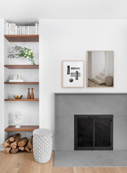 Hidden Staircase modern minimalist photography poster by Opposite Wall - Living room with a fireplace