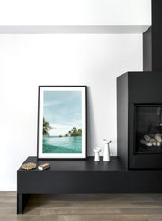 Turquoise Sea modern minimalist photography poster by Opposite Wall - Living room - Fireplace