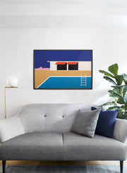 Modern minimalist poster by Opposite Wall with collage illustration of swimming pool - Living room