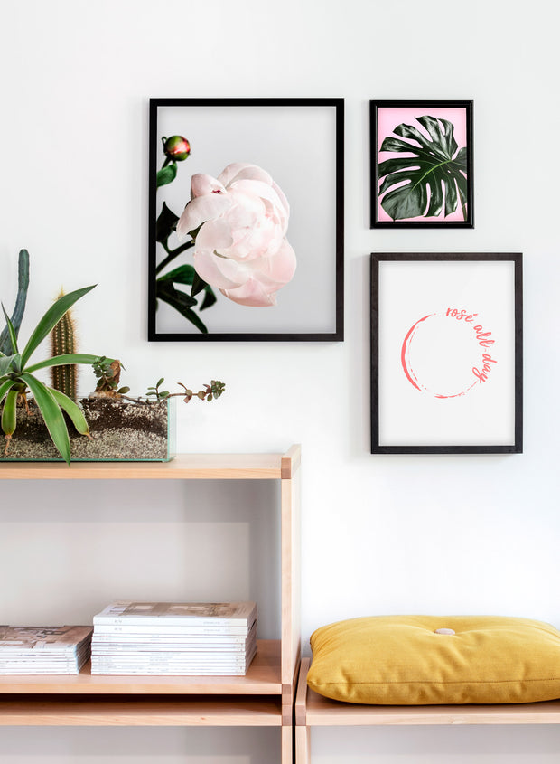 Modern minimalist poster by Opposite Wall with trendy pink hand-made illustration of Rosé All Day - Living room close-up on a yellow cushion