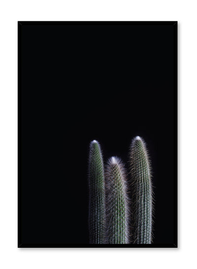 minimalist art print by Opposite Wall with cool with cactus on black background