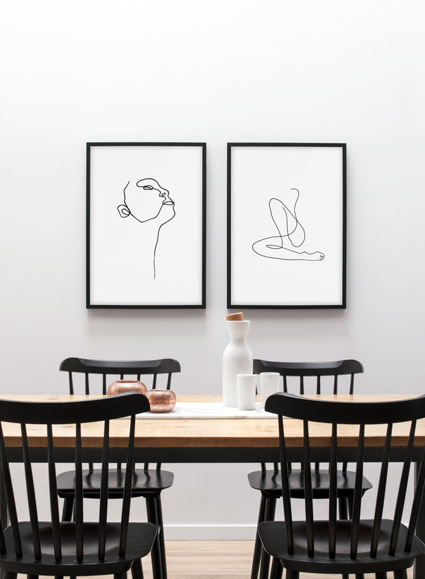Modern minimalist poster by Opposite Wall with abstract illustration of Flow and profile - dinning room