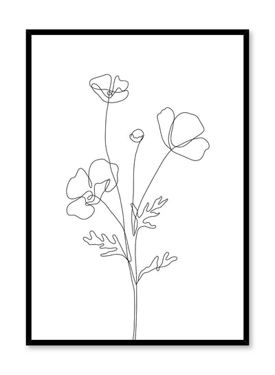 Minimalist design poster by Opposite Wall with line art drawing of poppy