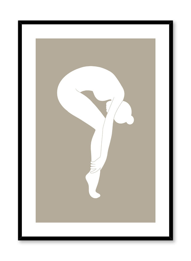Minimalist design poster by Opposite Wall with abstract woman bending forward on pointe in white