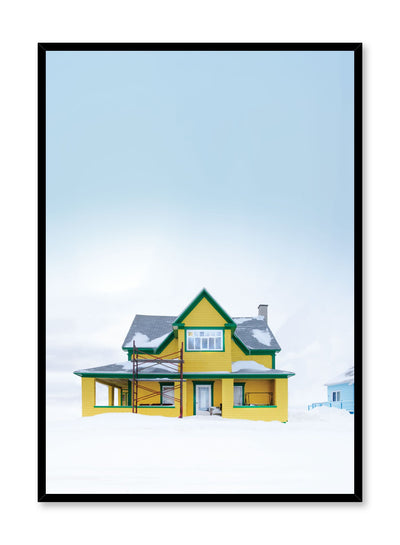 Minimalist design poster by Opposite Wall with photography of bold yellow home in winter snow