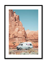 Minimalist design poster by Opposite Wall with photography of camper van on a road trip