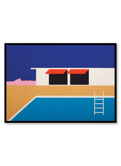 Modern minimalist poster by Opposite Wall with collage illustration of swimming pool