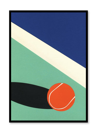 Modern minimalist poster by Opposite Wall with abstract collage illustration of tennis ball on court
