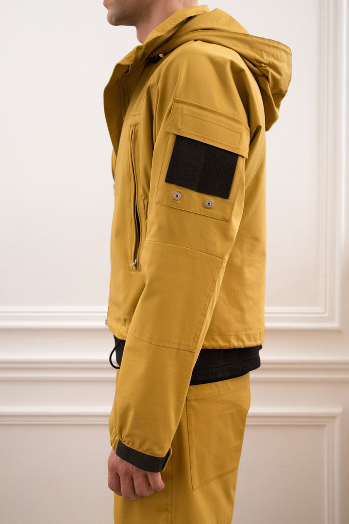 Mustard Cropped Technical Hooded Jacket