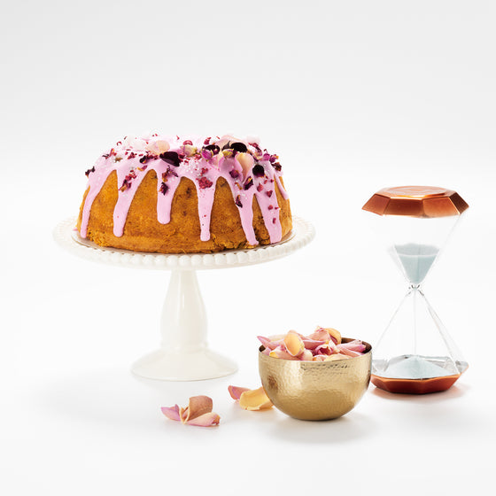 Raspberry and Rose Bundt cake, ideal for afternoon tea.