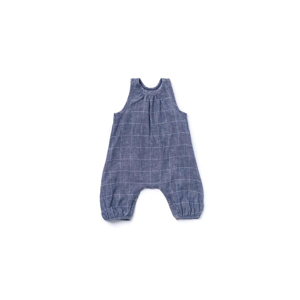 OMAMIMINI:Baby Jumpsuit with Racerback | Windowpane Indigo OM370