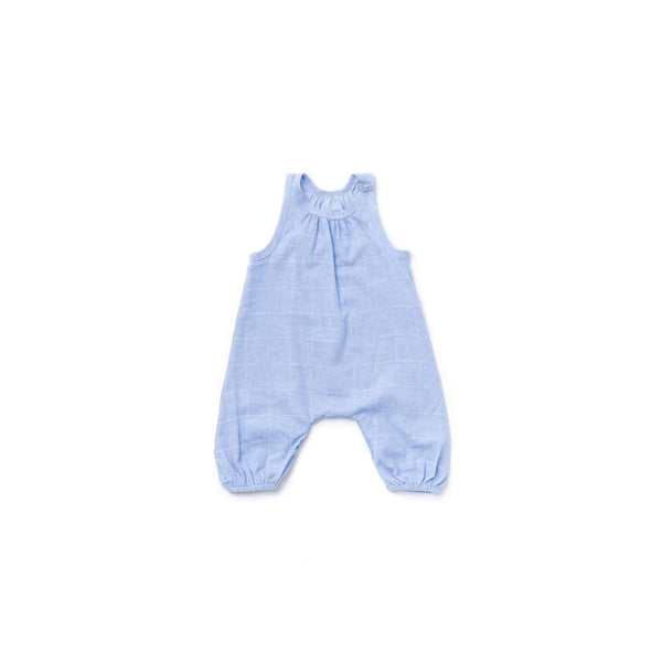 OMAMIMINI:Baby Jumpsuit with Racerback | Windowpane Light Blue OM370