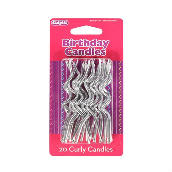 Candles - Silver Curly 20pcs