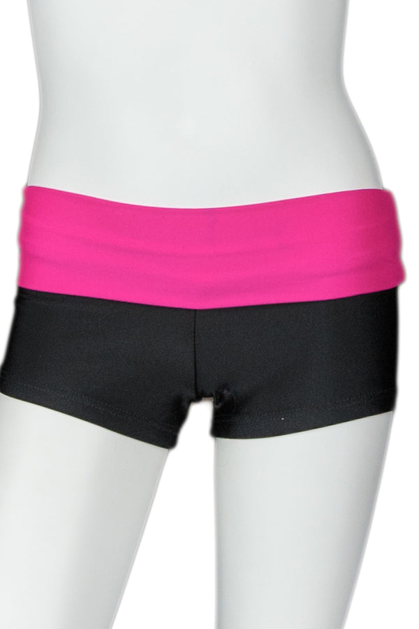Black Short with Bright Color Waistband - Fuchsia Band