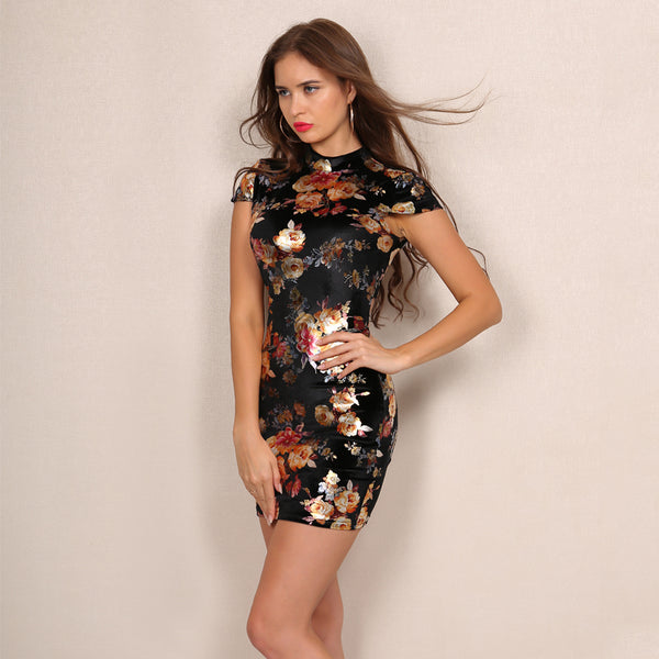 Floral Backless Lace Up Mini Dress - 2 Colors Available