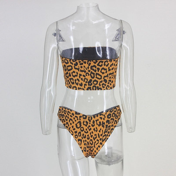 Cheetah Print Strapless Bikini Two Piece Swimsuit - 3 Colors Available