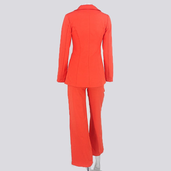 Plunging Neckline Blazer and Pants Set in ORANGE