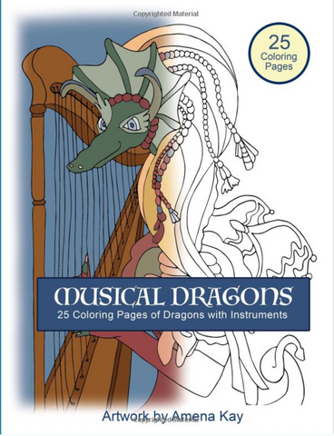 Musical Dragons Coloring Book - Dragons with Instrument