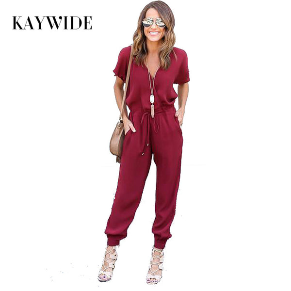 Sexy V Neck Pleated Flightsuit Romper