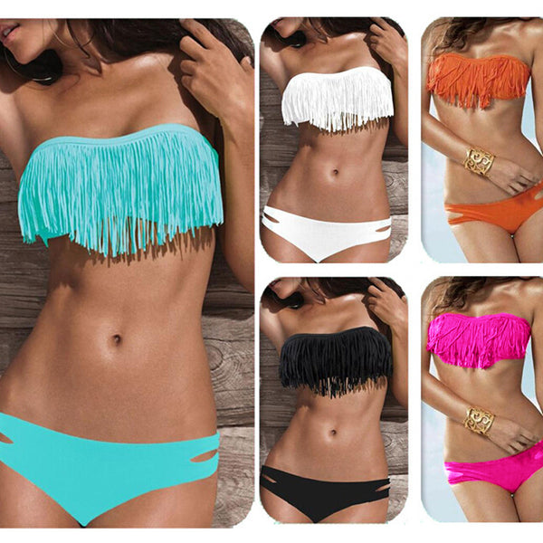 2017 Low Waist Tassel Sexy Swimsuit Set - Brand New!