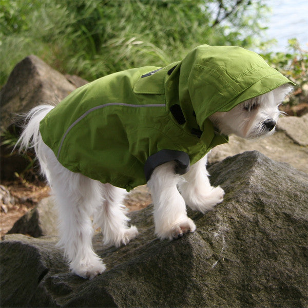 Small dog raincoat green full length hood