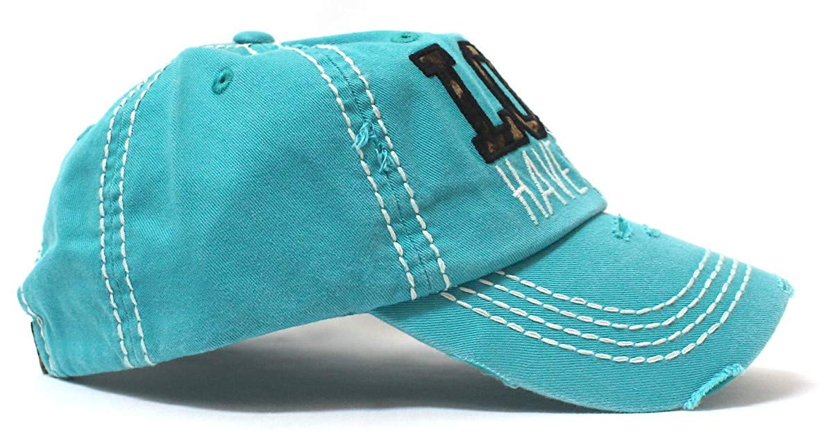 CAPS 'N VINTAGE Women's Hat Lord Have Mercy Leopard Embroidery Cap, Turquoise - Caps 'N Vintage