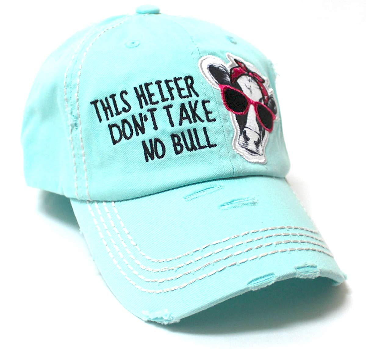 Country Humor Cap This Heifer Don't TAKE NO Bull Red Western Bandana Cow Patch Baseball Hat, ICY Blue - Caps 'N Vintage