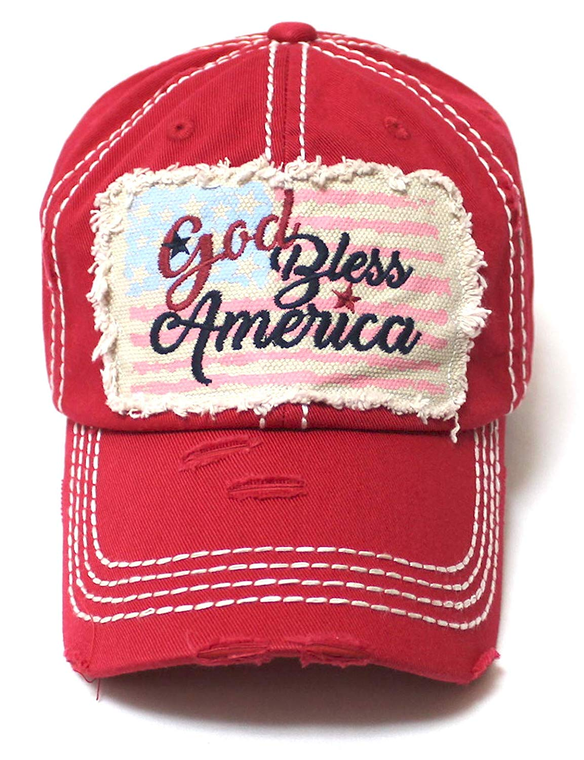 CAPS 'N VINTAGE July 4 Celebratory USA Flag Patch God Bless America Embroidery Ballcap, Ruby Red - Caps 'N Vintage