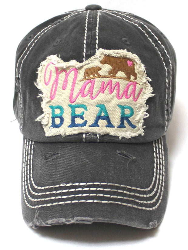 Women's Camping Cap Mama Bear & Cub Love Patch Embroidery Hat, Vintage Black - Caps 'N Vintage