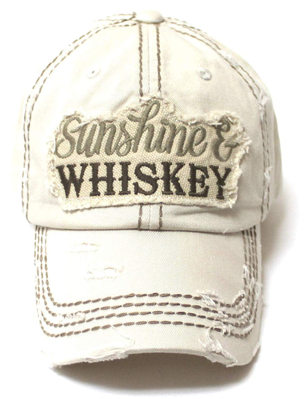 CAPS 'N VINTAGE Women's Accessory Ballcap Sunshine & Whiskey Patch Embroidery Baseball Hat, Stone - Caps 'N Vintage