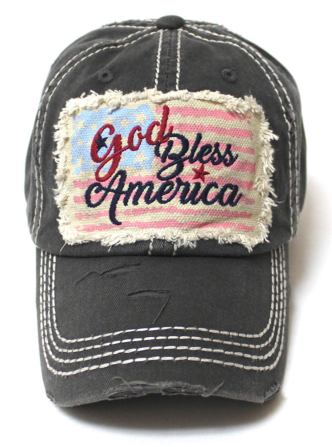 July 4 Celebratory USA Flag Patch God Bless America Embroidery Ballcap, Vintage Charcoal Blk - Caps 'N Vintage